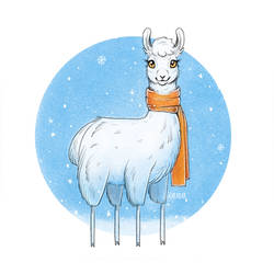 Cute winter lama by Scheadar