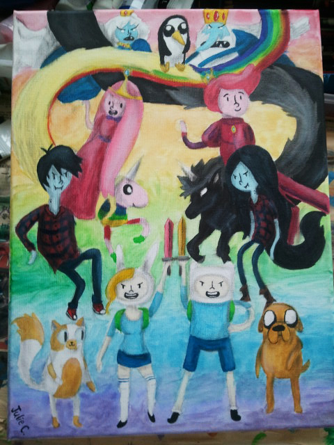 COMPLETED Adventure Time Painting by Jell--O