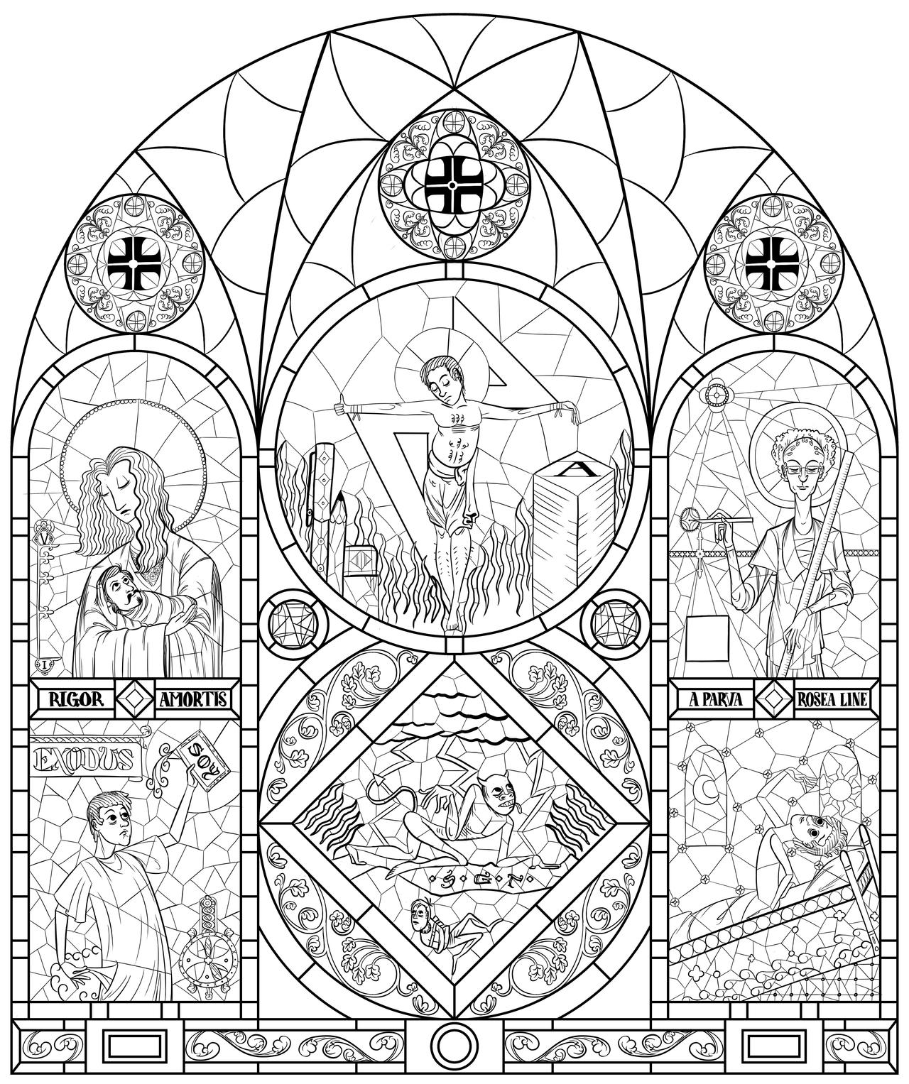 renaissance stained glass coloring pages - photo#26