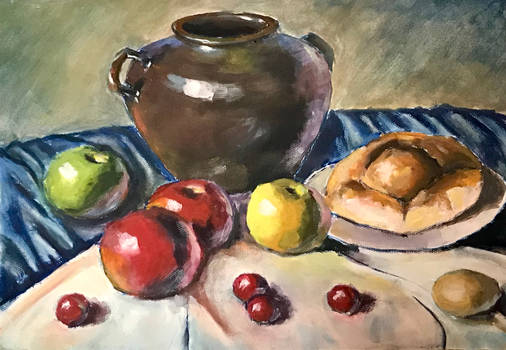 jar,bread and apple