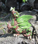 Forest Dragon and Moth Polymer Clay Dice Dragon