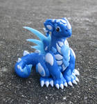 Frost Blue and White Polymer Clay Dice Dragon