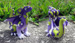 Royal Purple and Wasabi Green Polymer Clay Dragon