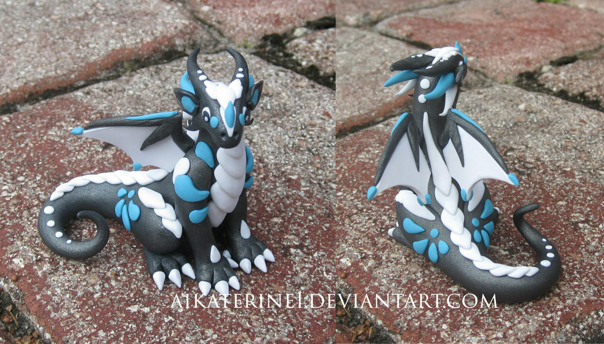 Slate Grey Teal and White Polymer Clay Dice Dragon by MiniMythicalMonsters