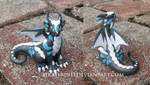 Slate Grey Teal and White Polymer Clay Dice Dragon
