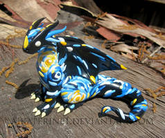 Starry Night Dragon, Handmade Polymer Clay Dragon by MiniMythicalMonsters