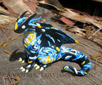 Starry Night Dragon, Handmade Polymer Clay Dragon