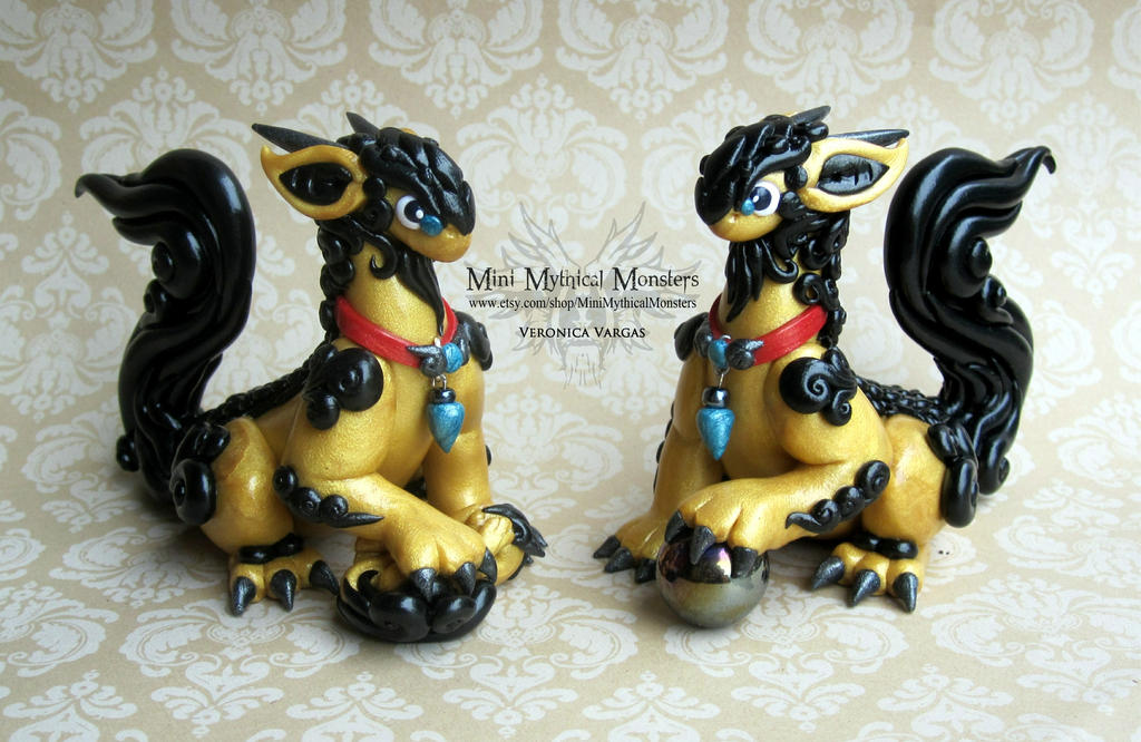 Fu Dragons! Gold and Black Polymer Clay Dragons by MiniMythicalMonsters