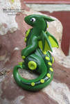 Green and Lime Polymer Clay Dragon