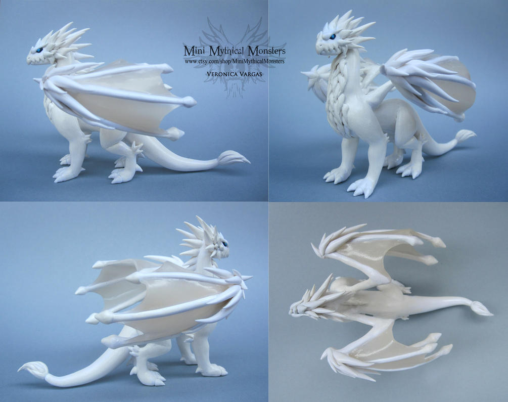 Custom White Polymer Clay Dragon by MiniMythicalMonsters