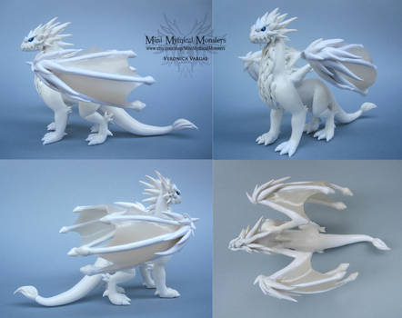 Custom White Polymer Clay Dragon