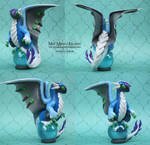 Blue and Gray OOAK Polymer Clay Scrap Dragon