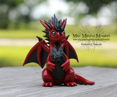 Red and Black Spiky Hexagon Dragon Sculpture by MiniMythicalMonsters