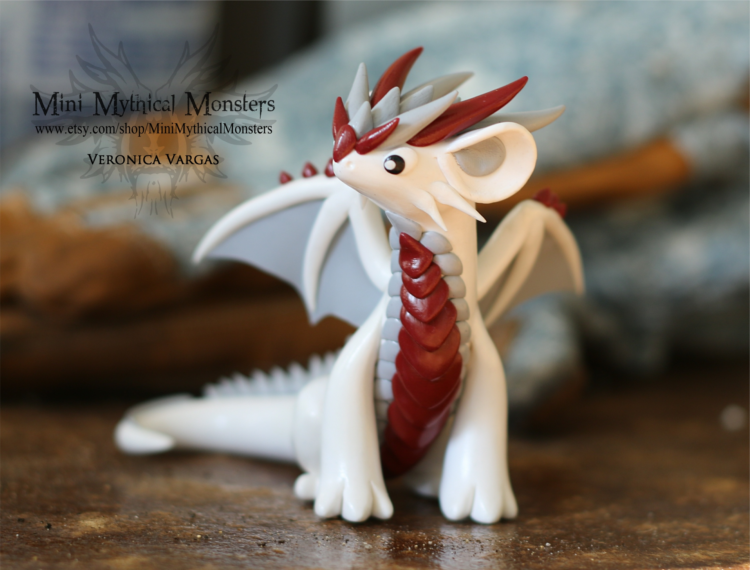 White Red And Gray Polymer Clay Dragon By