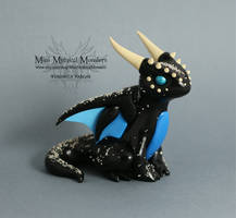 Black Blue and Silver Dragon by MiniMythicalMonsters