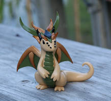 Tan Green and Gold Dragon by MiniMythicalMonsters