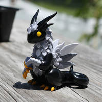 Black and Gray Feathered Dragon Sculpture by MiniMythicalMonsters