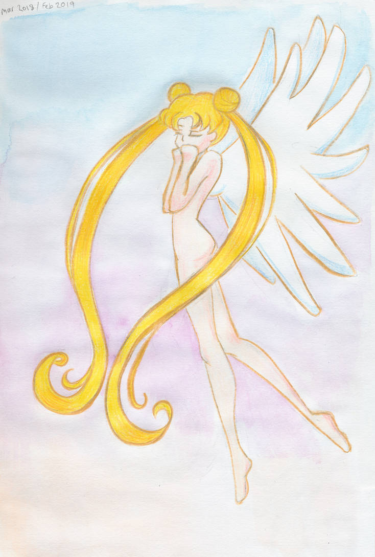 Sailor Moon Lonely - pencils and watercolor by unikorn