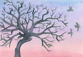 Watercolor Sunset Tree