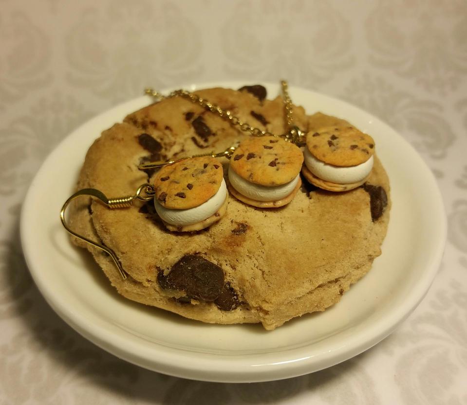 Ice Cream Sandwich Wallpaper: Chocolate Chip Cookie Ice Cream Sandwich Set By Ninja2of8