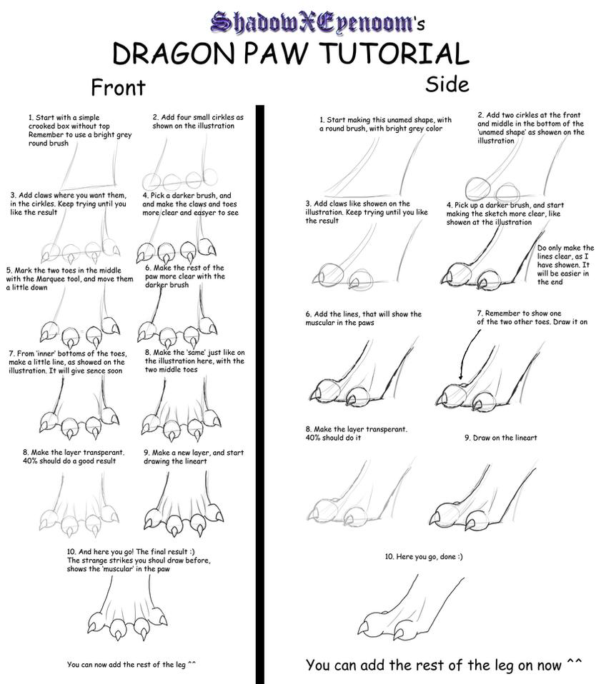 Dragon Paw Tutorial By Shadowxeyenoom How To Draw