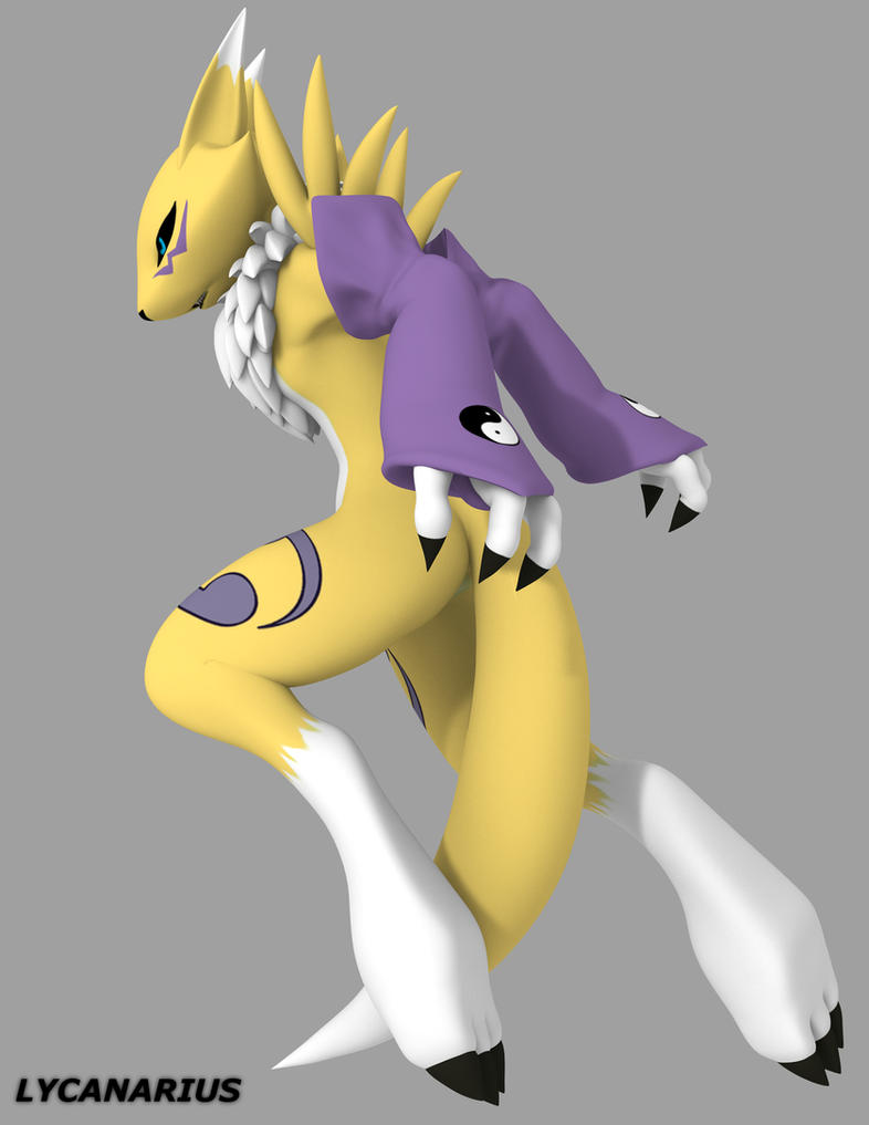 Renamon pose 3 - Queen of Diamonds by lycanarius