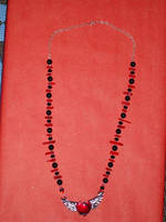 Onyx/Coral Winged Heart Necklace by Batalha-Enterprises