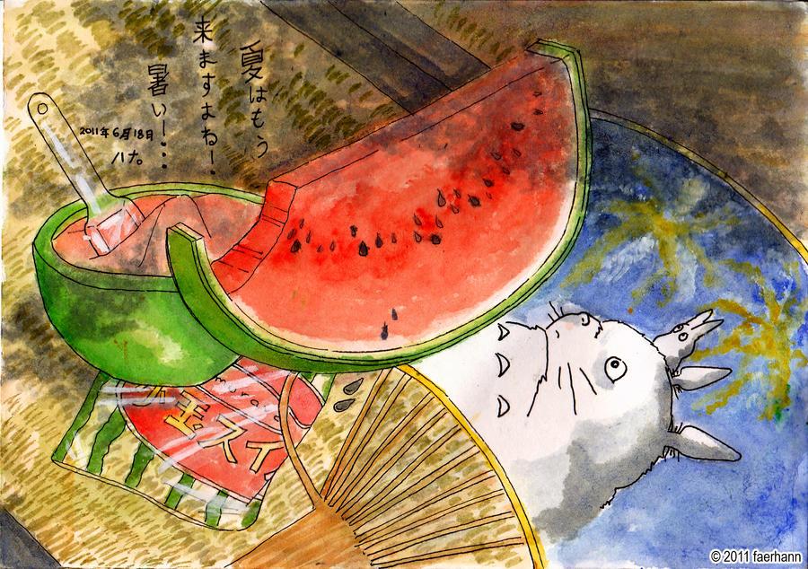 Happy KyuKyu Day ! =D Watermelon_by_faerhann-d3j83d6