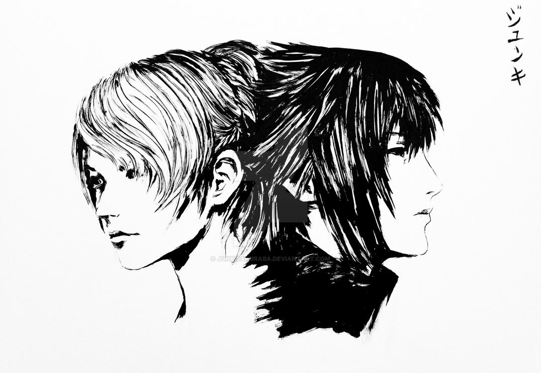 lunafreya and noctis sumie painting by junkisakuraba on deviantart