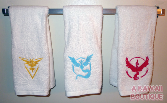 Pokemon Go Inspired Team Embroidered Hand Towels