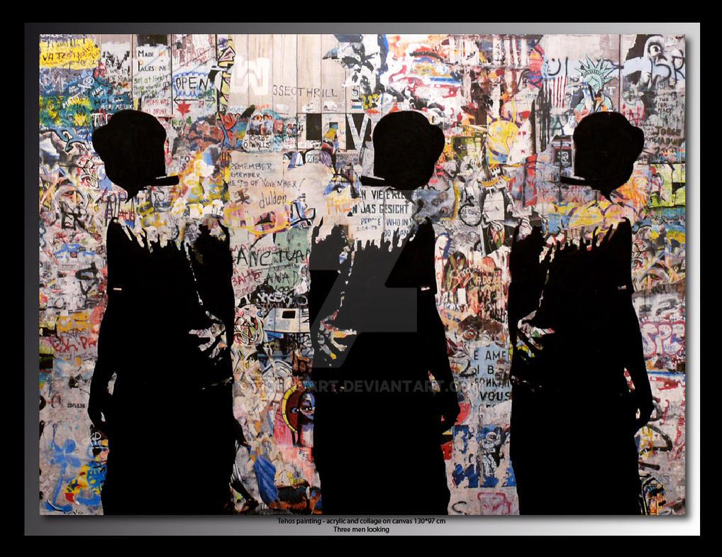 Tehos painting Three men looking 130*97 cm by tehosart