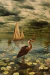 The Heron -sepia-