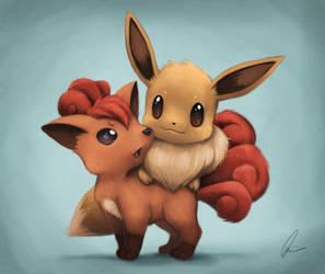 Eevee and Vulpix by qbookfox