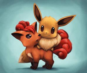 Eevee and Vulpix