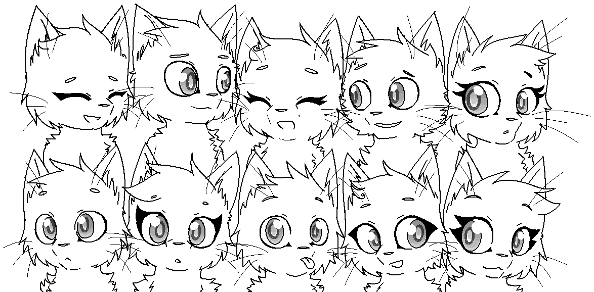 Line Art Group : Group of cats base template by izfan life on deviantart