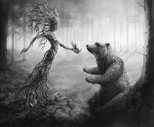 Bear Gets Claws from Forest Spirit by TeroPorthan