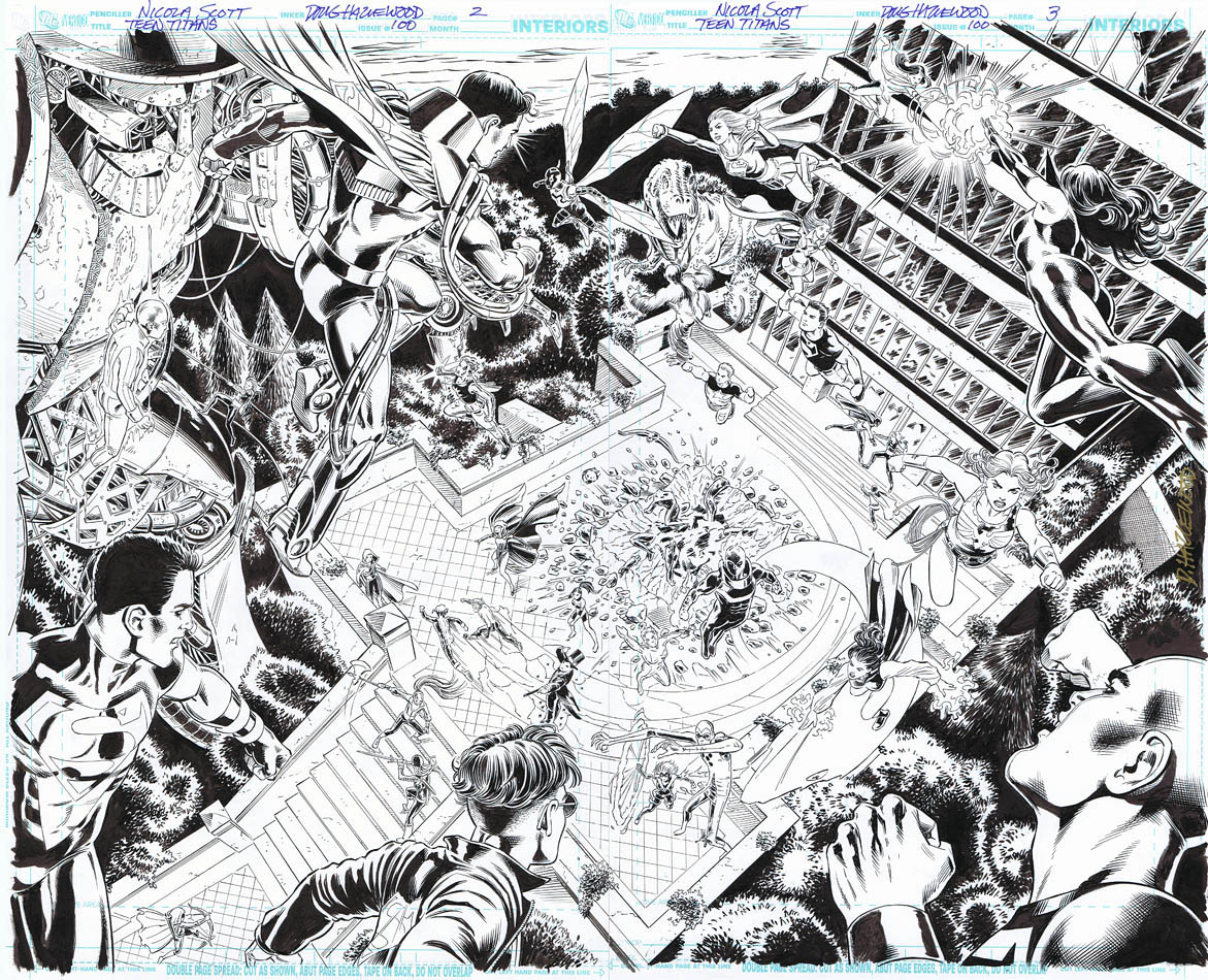 TEEN TITANS #100 DOUBLE-PG TITLE SPLASH Loaded!! by DRHazlewood