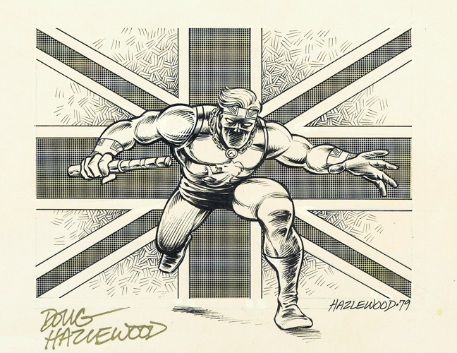 CAPTAIN BRITAIN Doug Hazlewood Fanzine 'Spot Illo' by DRHazlewood