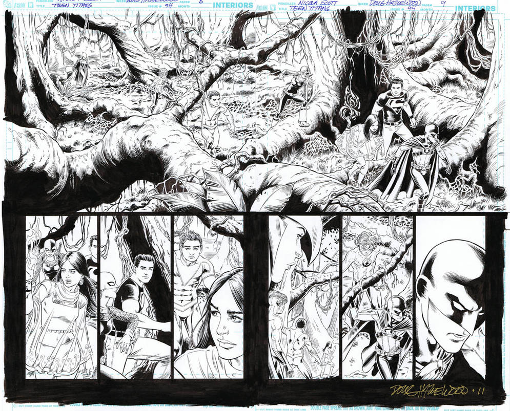 TEEN TITANS 94 Pg 8/9 Panoramic DBL-PG SPREAD Sold by DRHazlewood