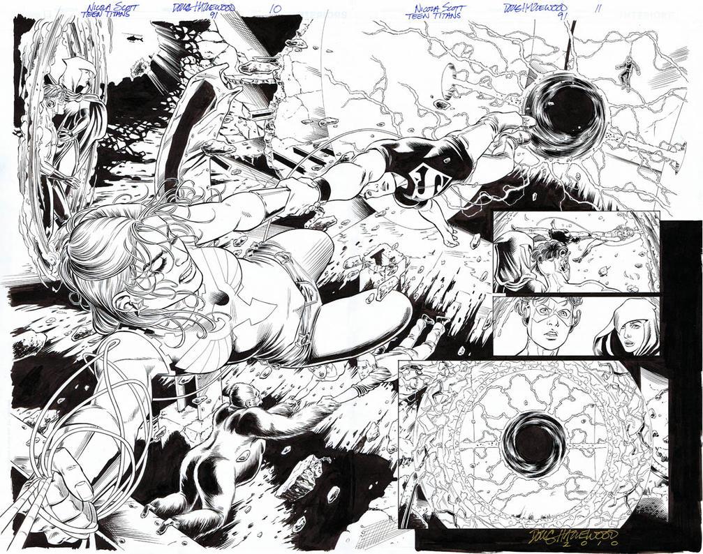 TEEN TITANS 91 - DBL-PG ACTION SPREAD Wonder Girl by DRHazlewood