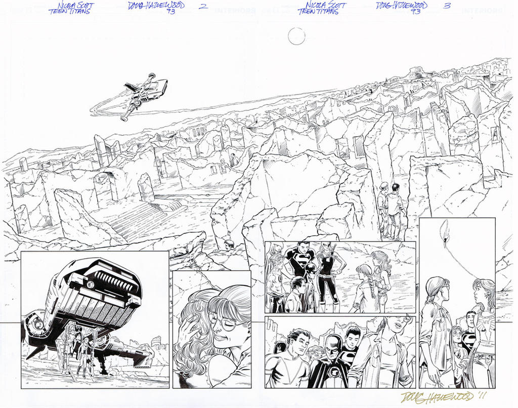 TEEN TITANS #93-Panoramic Double-Pg Spread $85 by DRHazlewood