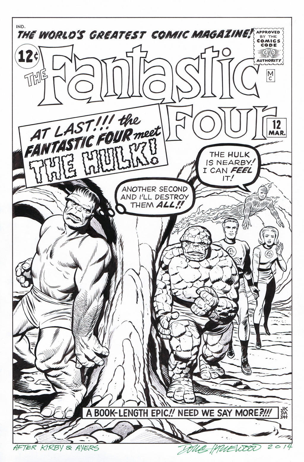 FANTASTIC FOUR 12 Cover Recreation HULK Hazlewood by DRHazlewood