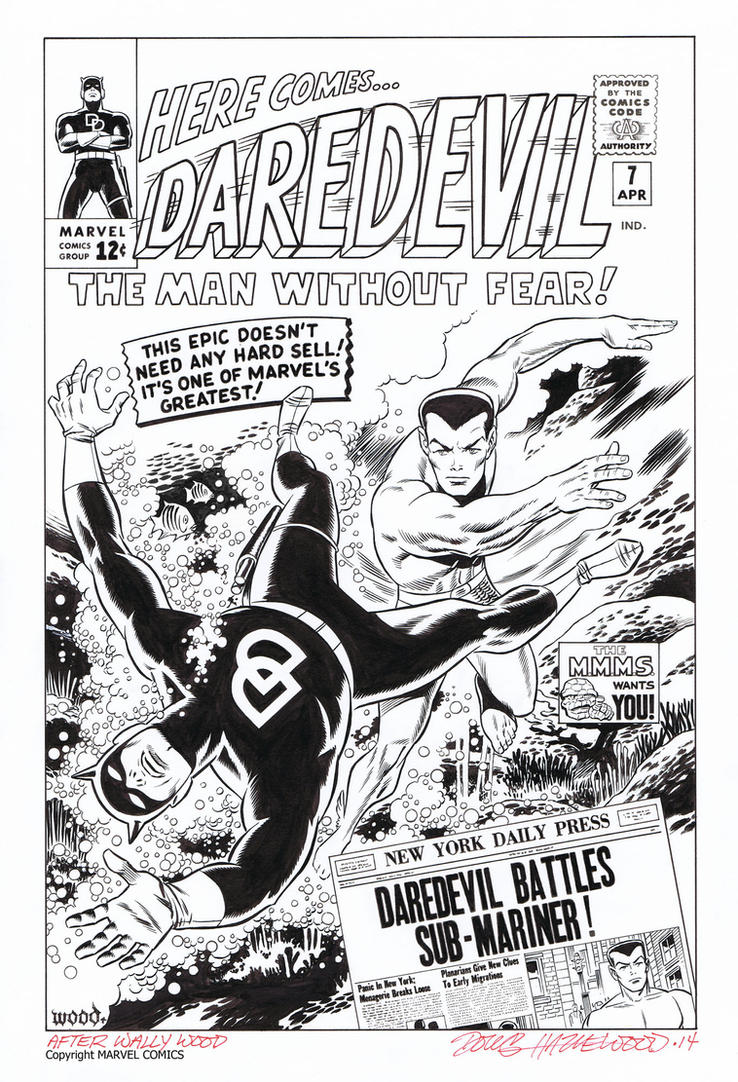 DAREDEVIL 7 Cover RECREATION Sub-Mariner HAZLEWOOD by DRHazlewood