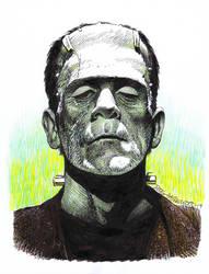 FRANKENSTEIN MONSTER Drawing Karloff HAZLEWOOD by DRHazlewood