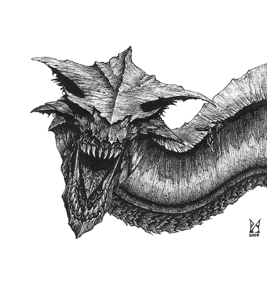 how to draw an awesome dragon head