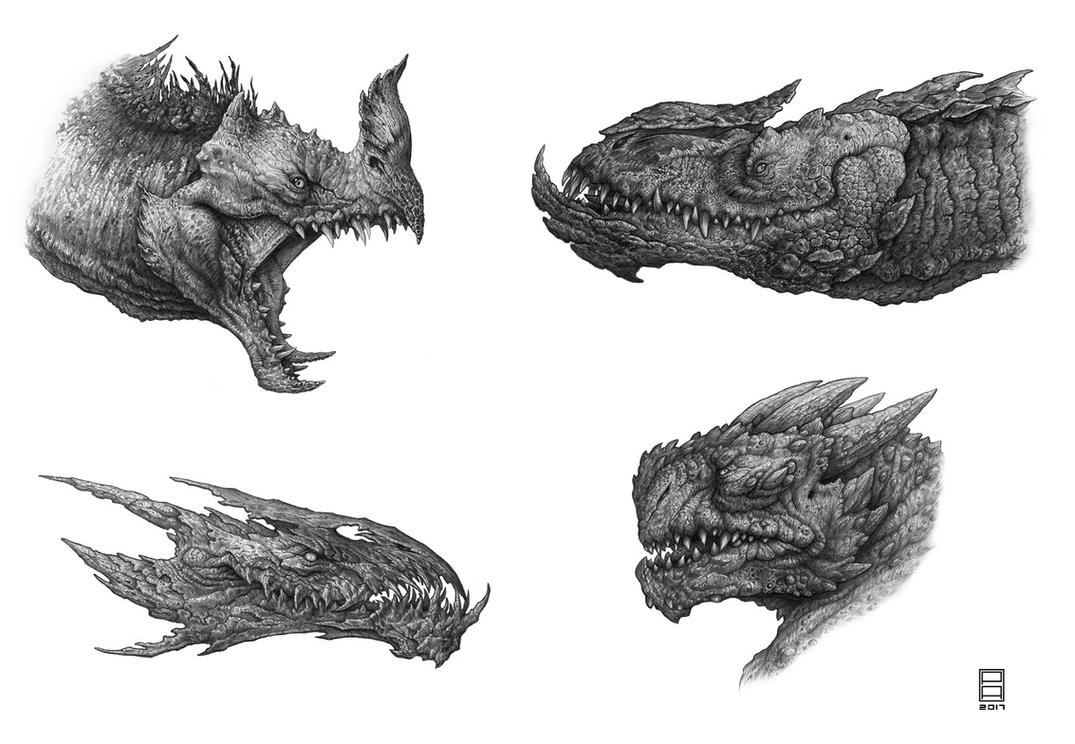 Dragon Head Study Pencil 1 by Deepcore1 on DeviantArt