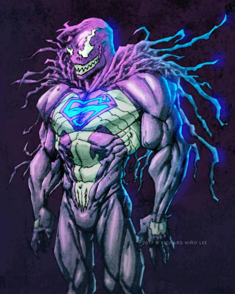 Venom-Superman Symbiote Crossover by charddskinnylee