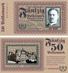 50 Volksmark Banknote, Series 1933 by pmbasehore