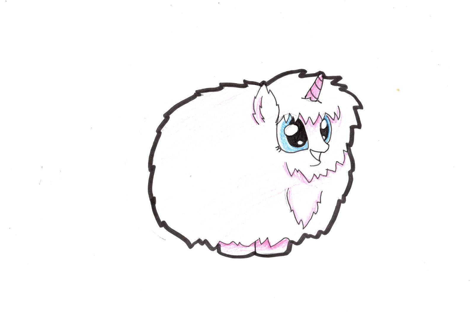 a drawing a day day 19 pink fluffy unicorn by maythedragonlord