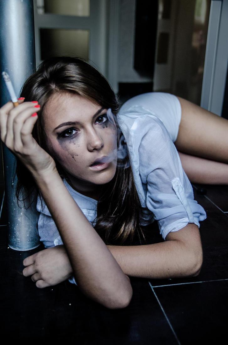 Girl and smoke